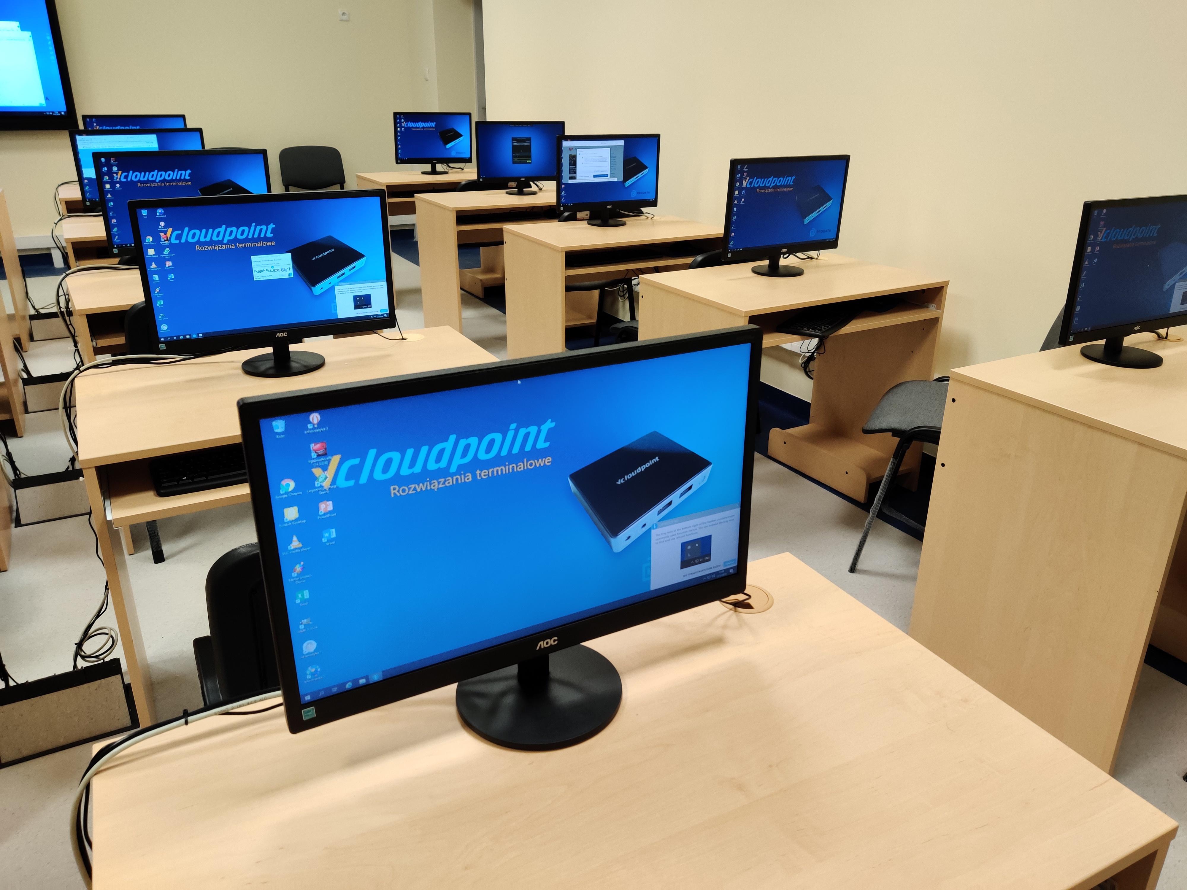 Pracownia informatyczna - szkolna pracownia terminalowa vCloudPoint w szkole podstawowej w Bożej Woli