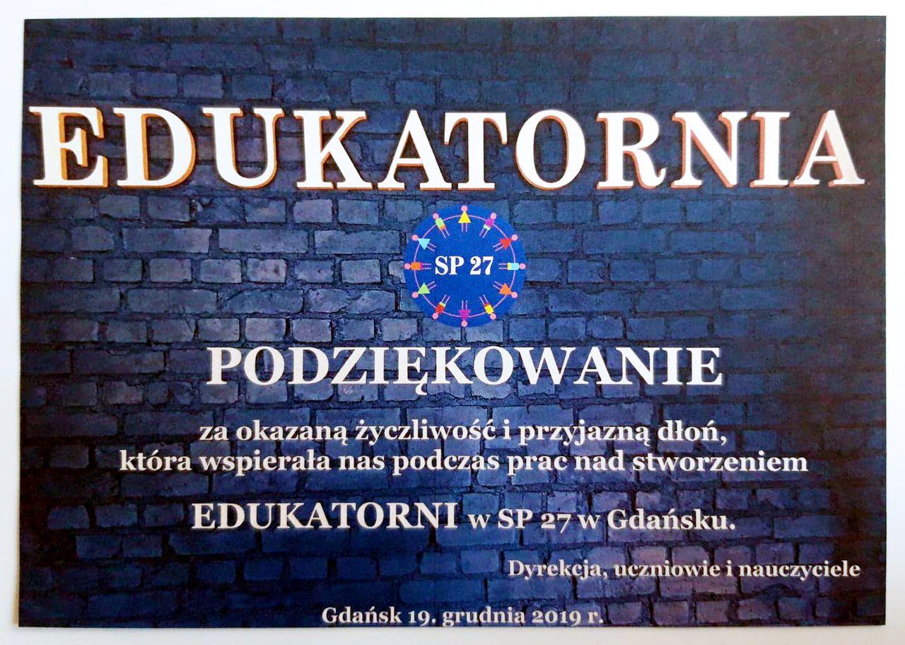 EDUKATORNIA Gdańsk - podziękowanie dla vCLoudPoint Polska