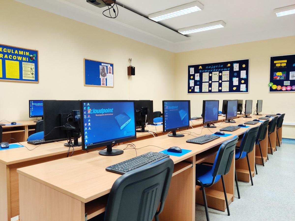 Pracownia komputerowa - terminale vCloudPoint w szkole podstawowej w Jednorożcu