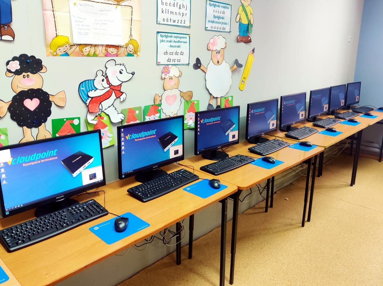 Szkolna pracownia terminalowa - sala informatyczna w Szkole Podstwowej w Lenartowicach - vCloudPoint