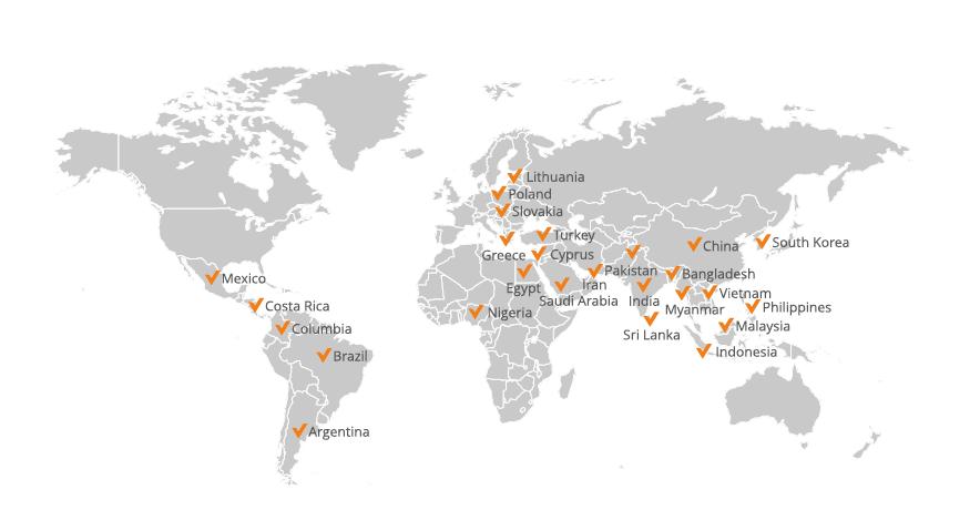 vCloudPoint terminale w pracowniach komputerowych na świecie- mapa dystrybucji