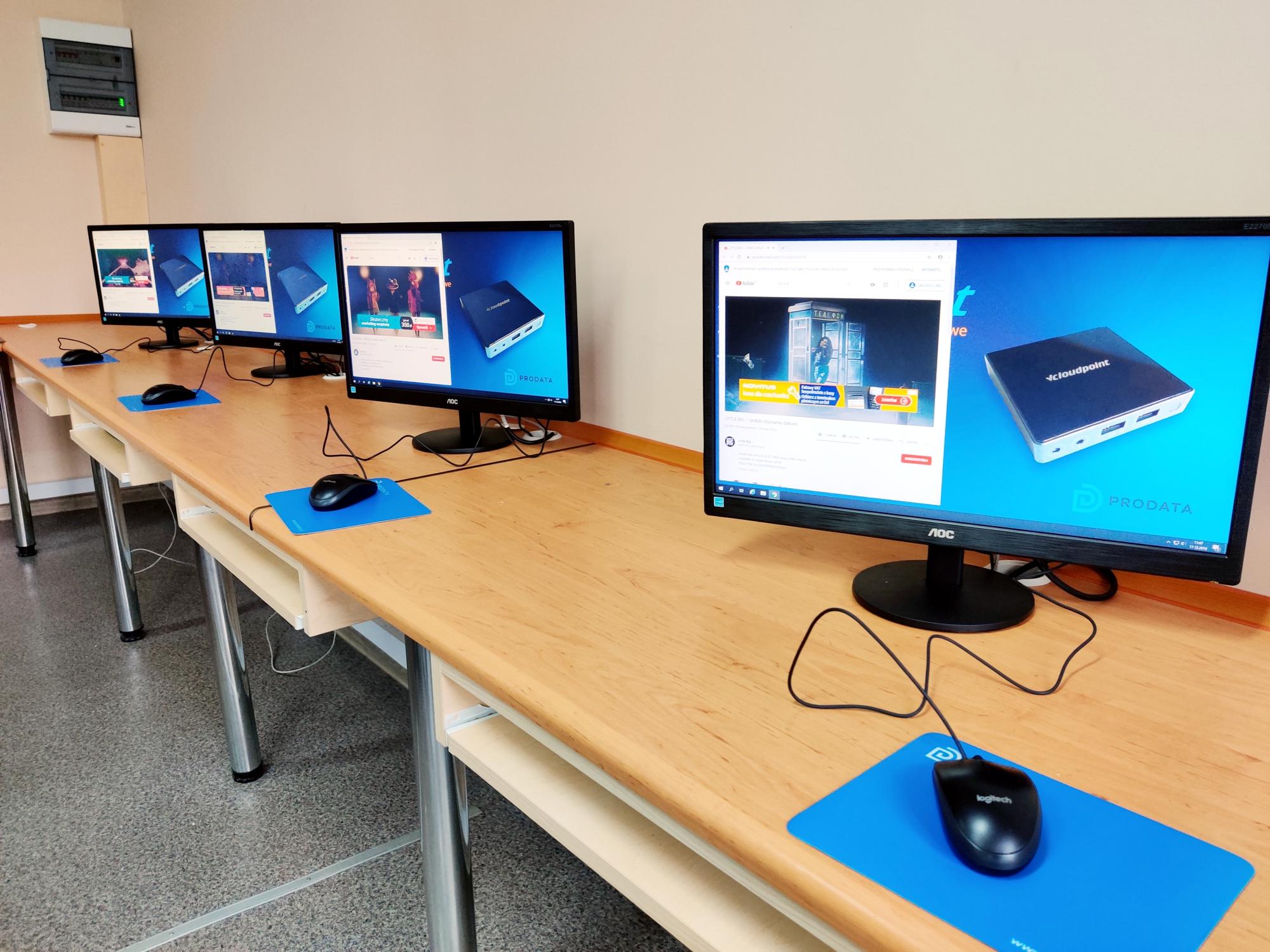 Terminale komputerowe vCloudPoint - pracownia komputerowa w szkole podstawowej w Połczynie