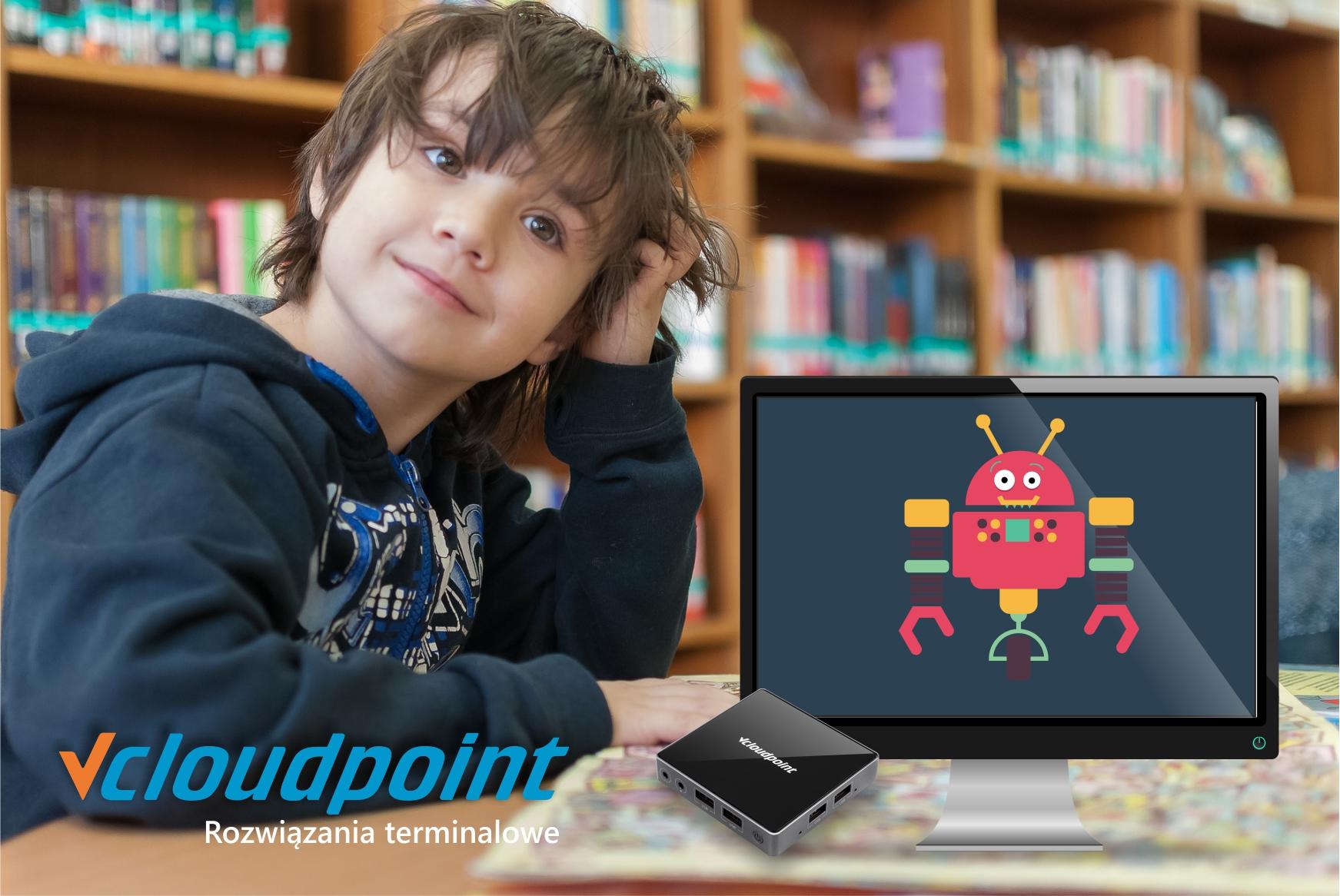 Kraszewski. Komputery dla bibliotek. Terminale vcloudpoint w bibliotece.
