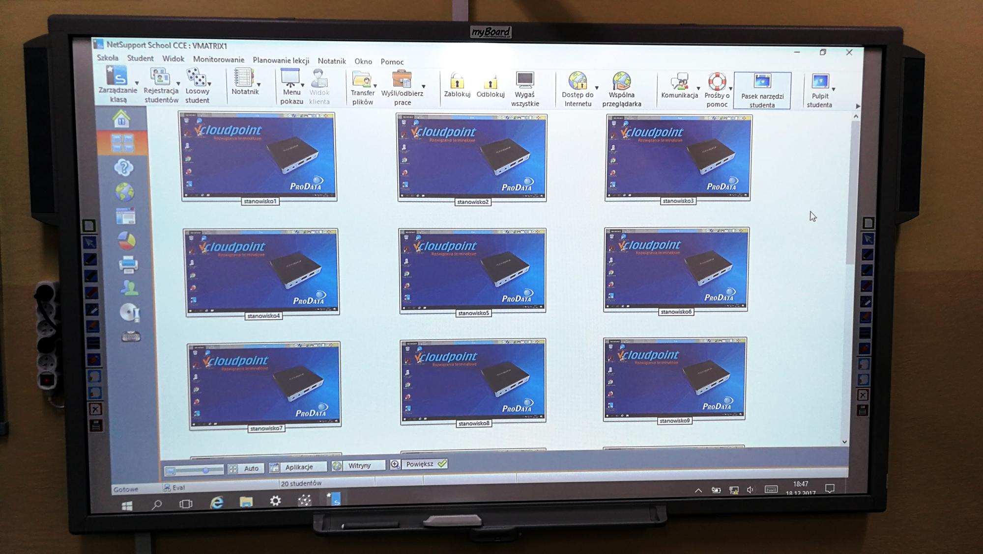 Szkolna pracownia terminalowa - współpraca z tablicą interaktywną vCloudPoint